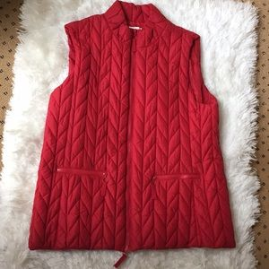 Coldwater Creek Red Quilted Puffer Vest